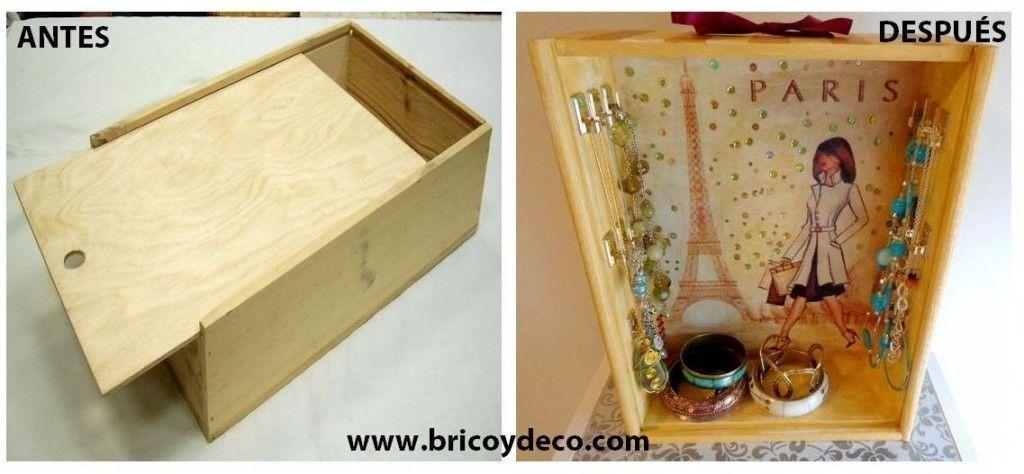 Diy de caja de vino a joyero chic - Como hacer un joyero de madera ...