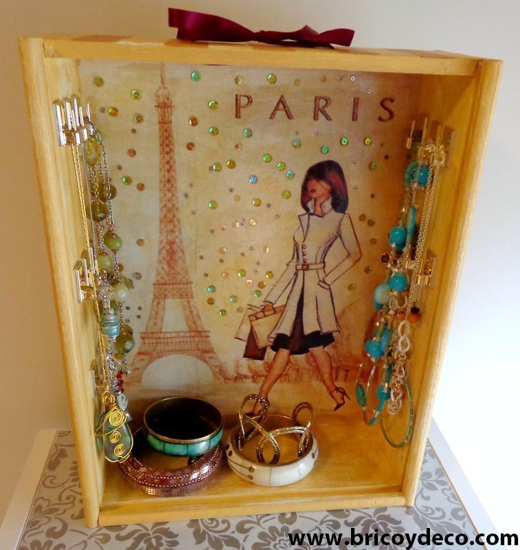 Diy de caja de vino a joyero chic - Cajas de vino para decorar ...
