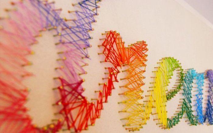 50 ideas para hacer con la t cnica del hilorama - Ideas para hacer cuadros con telas ...
