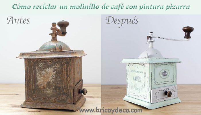 C mo reciclar un molinillo de caf con pintura a la tiza - Como limpiar hierro oxidado ...