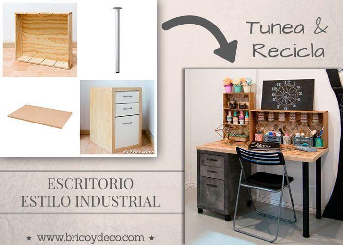 Escritorio de estilo industrial con materiales reciclados y tuneados - Cajonera estilo industrial ...