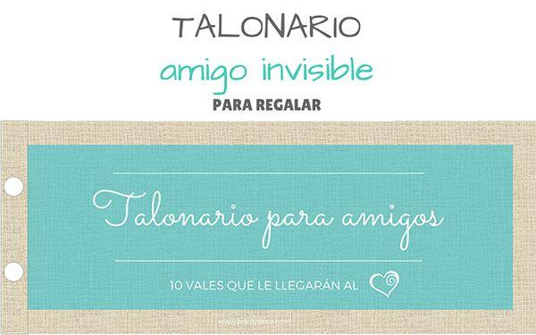 Talonario regalo para el Amigo Invisible (incluye plantilla para imprimir)